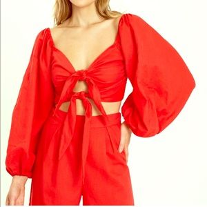 Charlie Holiday Somerset Top . xs red